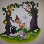 Muurschildering Disney Bambi, stamper en uil
