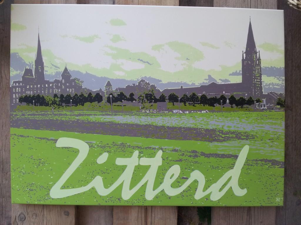 Magneetbord met de skyline van Sittard geschilderd in acryl. Afm; 80 x 58 cm makkelijk op te hangen met gestanste gaten. € 275,-